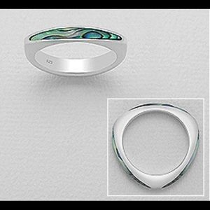 NEW Sterling Silver Ring w/Abalone